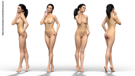 Free stock PNG:  Astrid, nude from 4 angles by ArtReferenceSource