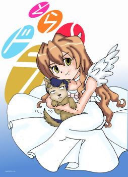 Angel Taiga and her puppy by GlyphBellchime