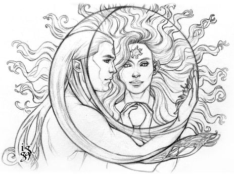 Arien and Tilion - How the moon loves the sun by IngvildSchageArt