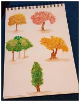 Watercolor Trees by Marce3