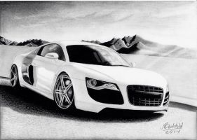 Audi R8 white Mountains Realistic Car Drawing by MaxBechtold