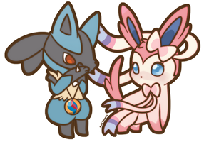 COMMISSION: Chibi Sylveon and Lucario by SeviYummy