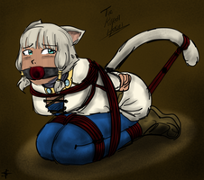 Y'shtola in a bind by Anubisette