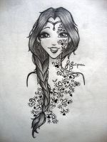 Floral Tattoed Girl by FilipaP