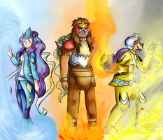 Suicune, Entei, Raikou (Humanized) by D00dleGuy