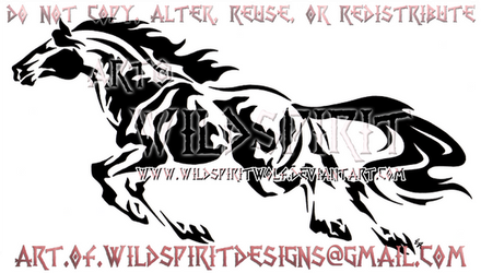 Abstract Galloping Mustang Design by WildSpiritWolf