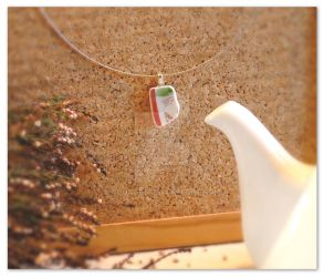 Red, white and green sleek ceramic pendant by rouages