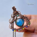 Copper wire boho pendant