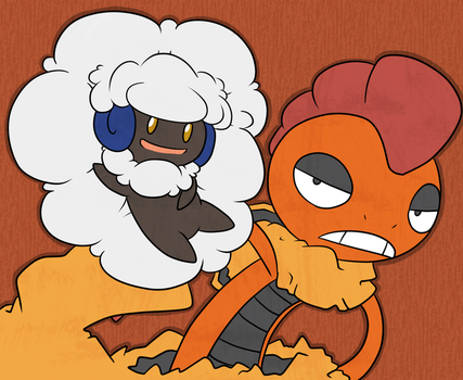 Whimsicott and Scrafty by Tabersnack