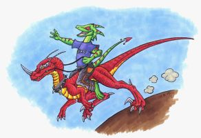 Starfyre and his Mount by Psydrache