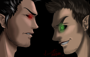 Darkiplier vs. AntiSeptic by estychan