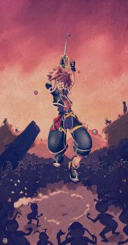 Sora and the 1000 heartless by pyawakit
