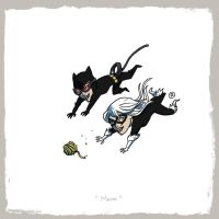 Little Friends - Catwoman and Black cat by darrenrawlings