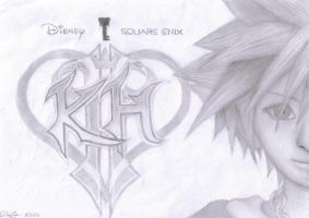 Sora Pencil Drawing KH2 by watermeloons