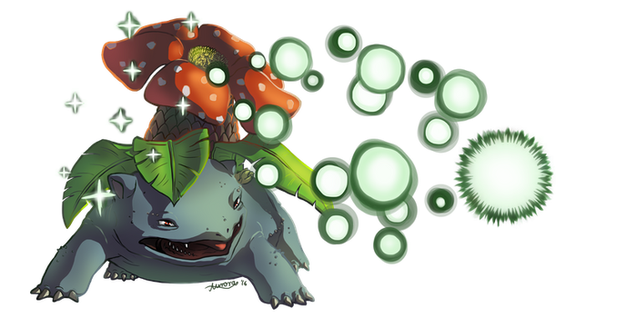 Venusaur used Giga Drain! by DragonchildX