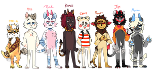 Cat demons lineup by Fox-mutts