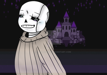 Undertell!Sans in front of the Castle by AnarchyKJ