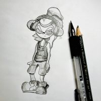 pencil-draw squid boy. by esueneu