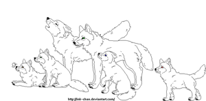 Wolf Family Lineart by Ink--Chan