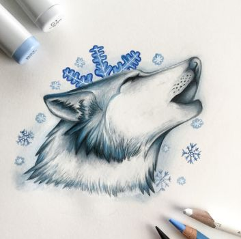 Frost Wolf ( winter collection #1 ) by Artistlizard101