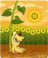 Cute Cartoon Bear with Sunflowers (Updated) by KazFoxsen