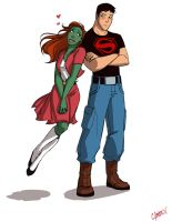 Miss Martian and Superboy by Oniwolf12