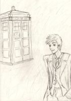 The Tenth Doctor and his TARDIS by yaoilovr