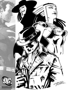 Rorschach, Promethea and V by KidNotorious