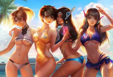 Overwatch beach time by jiuge