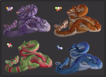 OPEN PAYPAL ADOPTABLES - Snake dragons set 2 by SorahChan