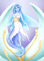 Water Fairy and Flower by ValkyrieVale