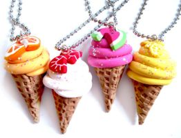 Waffle Cone Ice Cream Necklace by geurge