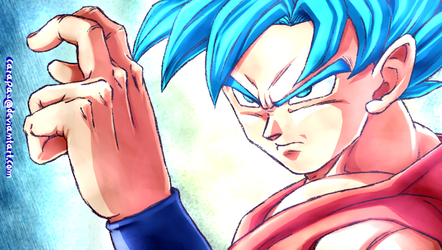 Goku SSJ Blue screenshot redraw by carapau