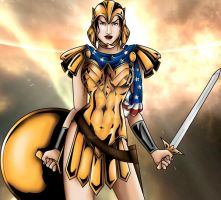 Wonder Woman in Warrior Armor by JGiampietro