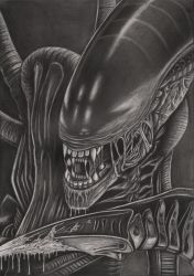 'Alien' graphite drawing by Pen-Tacular-Artist