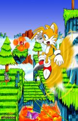 Tails in Hilltop Zone by DR-Studios