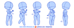 Chibi poses reference (chibi base set #2) by Nukababe
