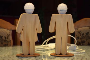 Body shape wooden lamp by matcheslv