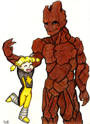 Katie Power and Groot by suzie-chan