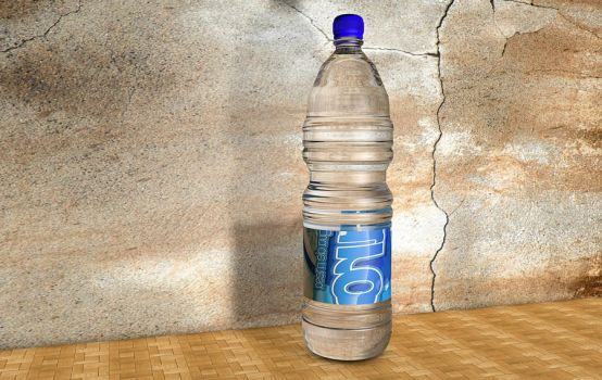 Botella de agua creada con Cinema 4d + Photoshop by qartcreative