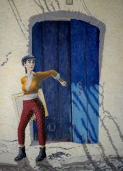 Selfportrait closing blue door by TeresaOstbye