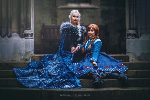 Elsa and Anna by catandcrown