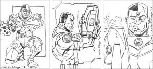 Cyborg sketch card rough pencils by CharlesEttinger