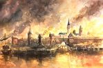 Medieval Town on Fire by Entar0178