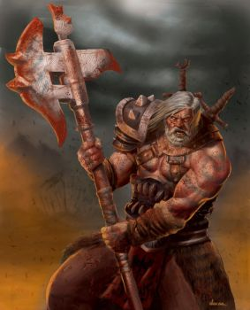 Barbarian warrior character card by DaCas