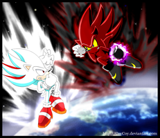 Nazo vs Shadic in space by coycoy