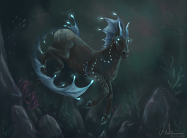 Satryga in deep waters [commission] by BlackLenk