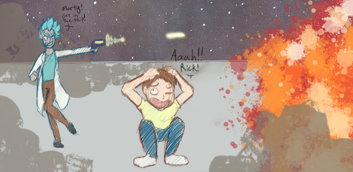 Rick and morty sketch by GoldenDiva013