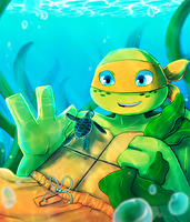 Swimming with Mikey by CutieClovers