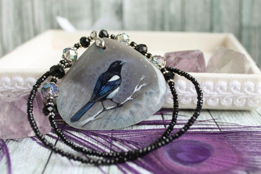 Magpie  - hand painted pendant by LunarFerns